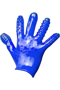 Finger fuck textured glove police blue