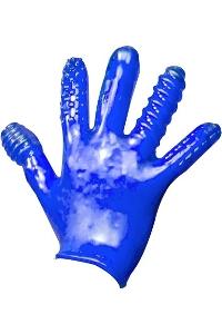 Finger fuck textured glove police blue