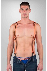 Neoprene heckler harness black / orange - large / extra larg