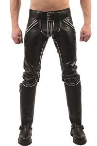 Mister b leather fxxxer jeans black-white