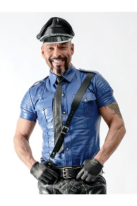 Police shirt blue, sheep skin leather