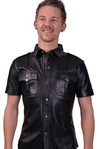 Mister b sheep leather police shirt